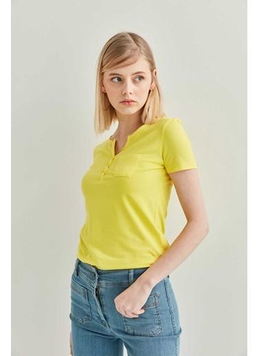 Vitrin Yaka Düğme Detaylı Pamuk Bluz Sarı